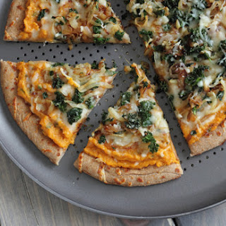 Sweet Potato Pizza with Kale and Caramelized Onions.