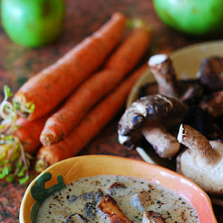 Homemade creamy mushroom soup with Shiitake mushrooms