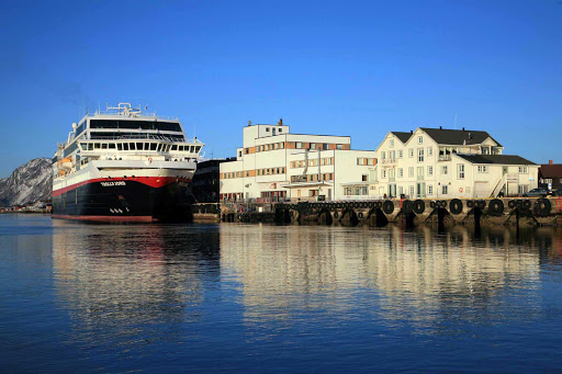 Hurtigruten's Trollfjord docked at the village of Ørnes, Norway.