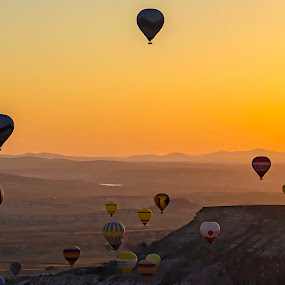 Hot air balloons by Stefania Loriga - Landscapes Mountains & Hills ( sunrise, turkey, balloons, sun, cappadocia,  )