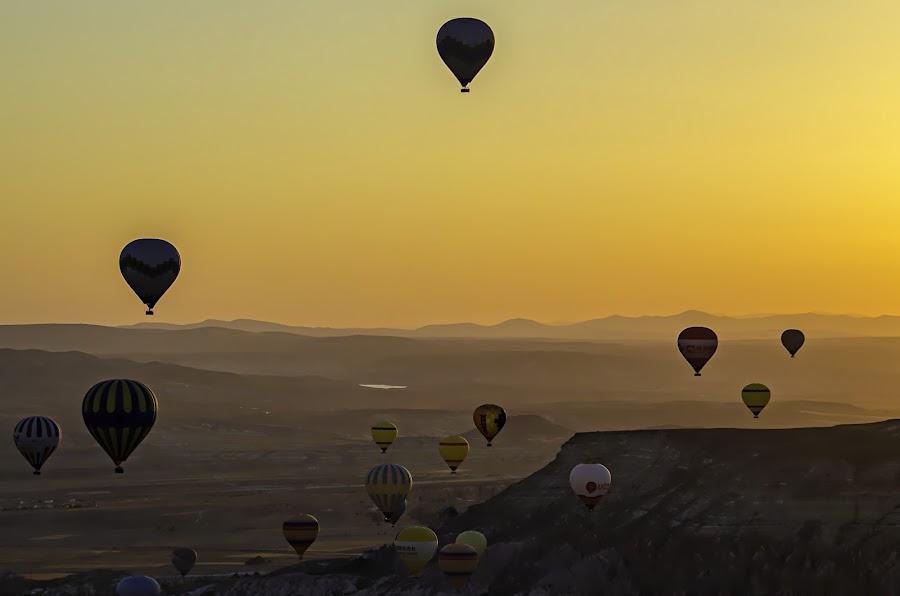 Hot air balloons by Stefania Loriga - Landscapes Mountains & Hills ( sunrise, turkey, balloons, sun, cappadocia,  )