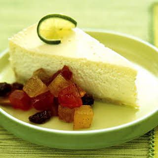 Key Lime Cheesecake with Tropical Dried-Fruit Chutney.