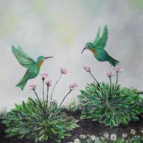 Hostas and Hummingbirds by Rhonda Lee - Painting All Painting ( bird, unique, green, hummingbird, art, pretty, garden, painting, hosta, flower, soft,  )