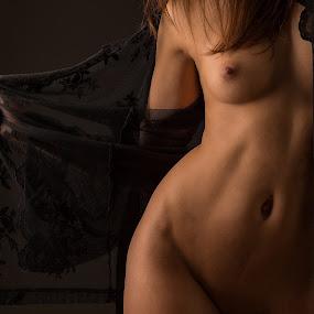 Open by Tom Fensterseifer - Nudes & Boudoir Artistic Nude ( torso, bodypart, low key, nightgown )