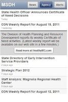 Screenshot of Mississippi Health Updates
