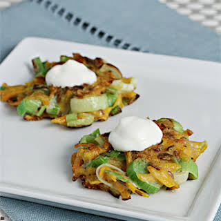 Butternut Squash and Leek Latkes with Pan-Roasted Cumin.