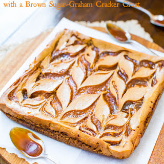 Salted Caramel Swirled-Pumpkin Cheesecake Bars with Brown Sugar-Graham Cracker Crust