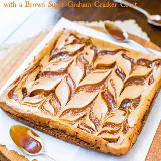 Salted Caramel Swirled-Pumpkin Cheesecake Bars with Brown Sugar-Graham Cracker Crust.