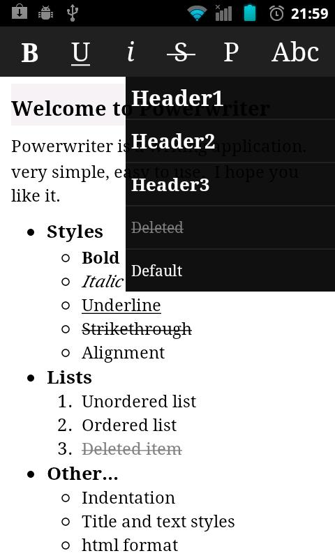 Power writer - screenshot