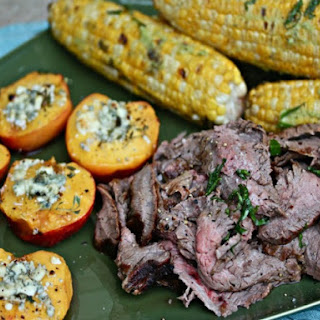 Flank Steak With Blue Cheese-Honey Nectarines and Basil-Buttered Corn