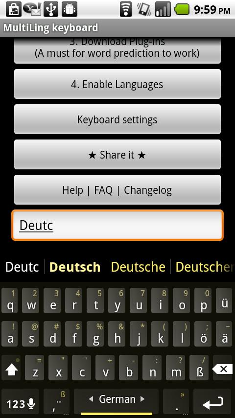 German Keyboard plugin – Screenshot