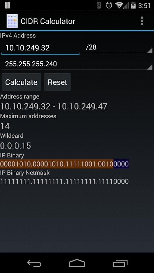 CIDR Calculator- screenshot