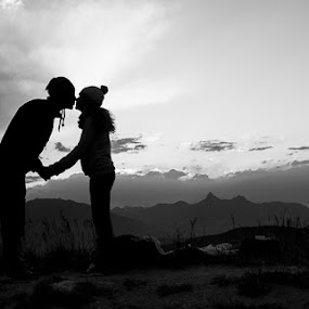Mountain Love by Veronika Kovacova - Landscapes Mountains & Hills ( love, kiss, mountains, black and white, silhouette, sunset, couple, , improving mood, moods, red, the mood factory, inspirational, passion, passionate, enthusiasm )