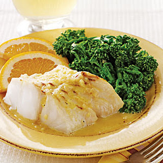 Broiled Halibut with Orange- Shallot Butter Sauce.