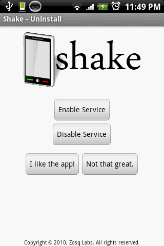 Shake - Uninstall - screenshot
