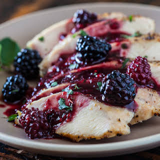 Grilled Chicken with Blackberry Sweet and Sour Sauce.