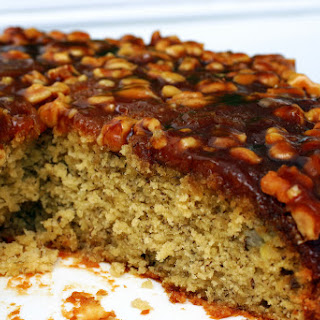 Caramel Walnut Upside-Down Banana Cake.