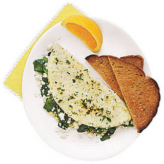 Egg-White Omelet with Spinach, Feta and Herbs.