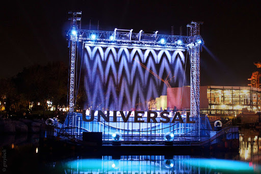 Waterfall cinema at Universal Studios Florida Theme Park in Orlando, Florida.