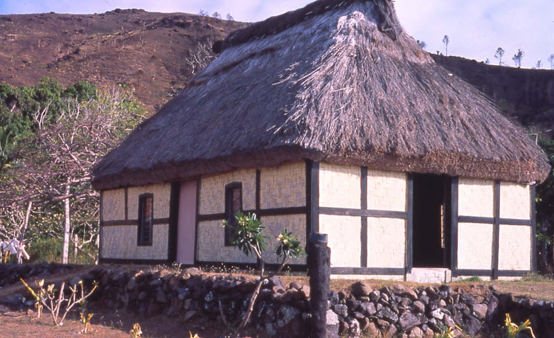 The village chief's bure, a traditional thatched-roof dwelling, in Malakati, a village of 180 in the Yasawa Islands of Fiji.