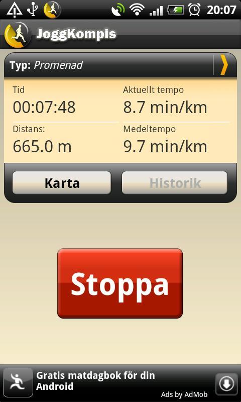 JoggKompis- screenshot