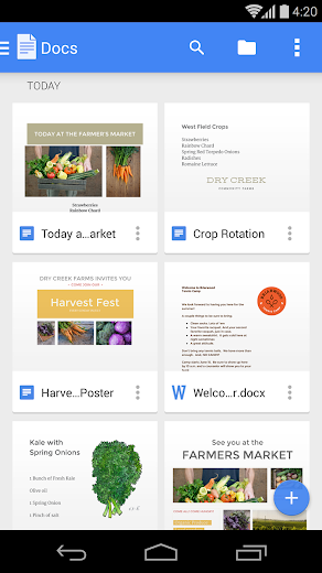 Screenshot 0 for Google Docs's Android app'