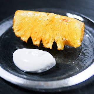 Vanilla Roasted Pineapple with Coconut Whipped Cream.