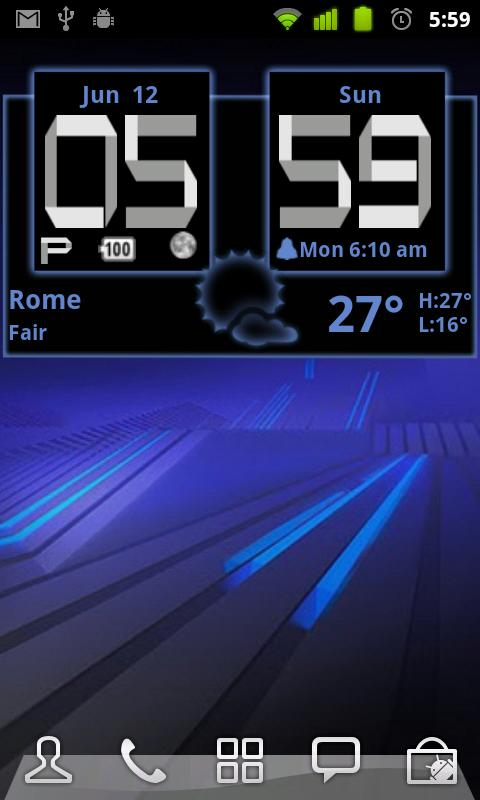 Honeycomb Weather Clock Widget - screenshot