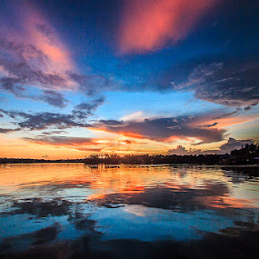 Pastel Reflections by Shelley Patterson - Landscapes Sunsets & Sunrises ( water, sunset, reflections, alabama, wolf bay )