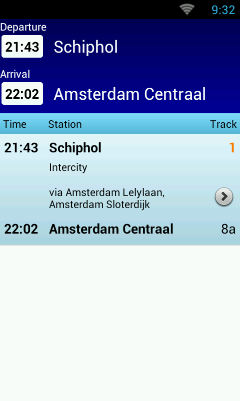 NL Train Navigator - screenshot