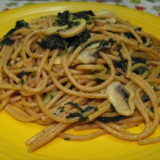 Mushroom and Spinach Spaghetti.