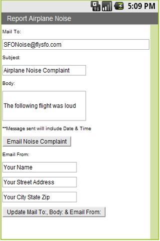 Report Airport Noise- screenshot
