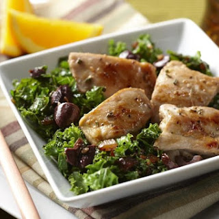 Orange Rosemary Skillet Chicken Thighs with Wilted Kale