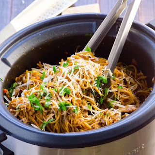 Easiest Slow Cooker Chicken and Spaghetti