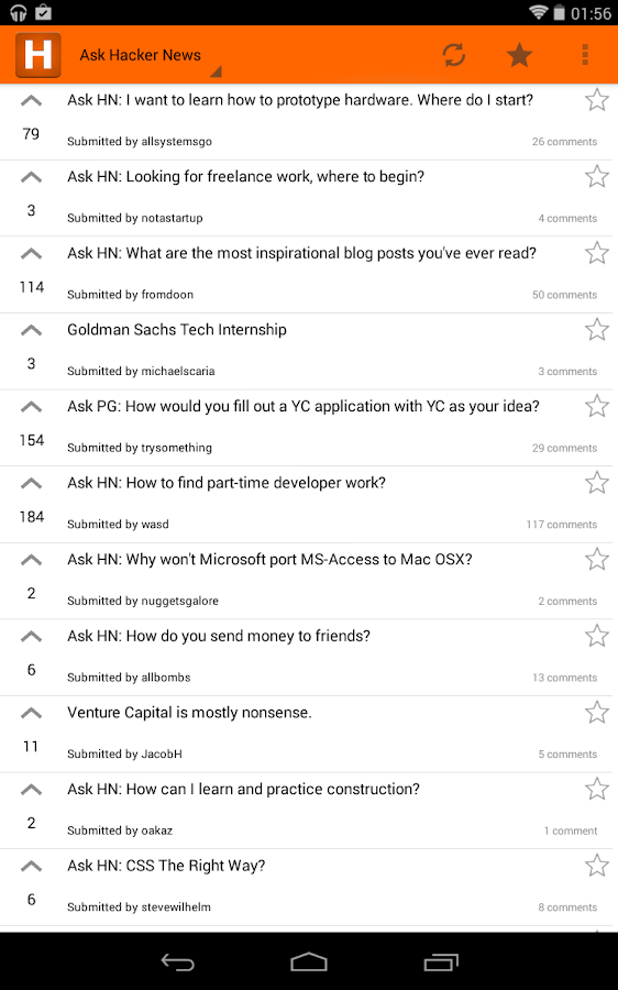Hacker News Android - screenshot