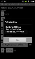 Screenshot of Bitrate Calculator