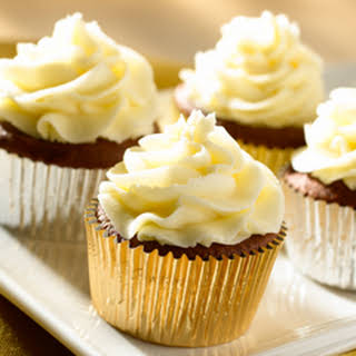 Chocolate Cupcakes With Whipped Vanilla Frosting.