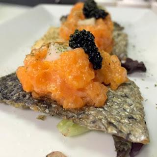 Spicy Salmon Skin Crostini.