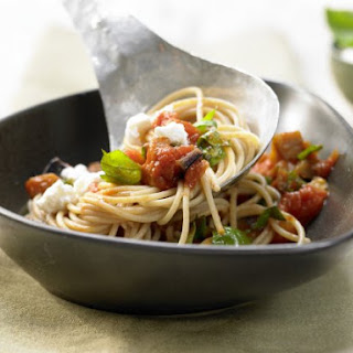 Eggplant Spaghetti with Tomatoes and Basil