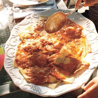Cheese Ravioli with Fresh Tomato Sauce.