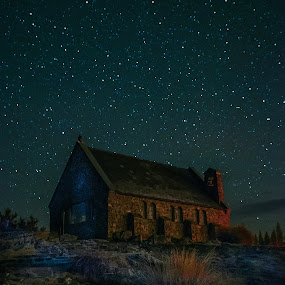 Starry Night @ Church of Good Shepherd by HP Tang - Landscapes Travel ( building, church, night photography, night scene, lake tekapo, stars, landscapes, new zealand, nightscape )