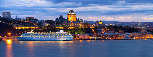Crystal-Symphony-Quebec-City-Canada - Crystal Symphony sails through the evening glow of Quebec, Canada.