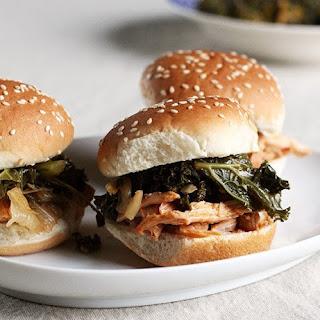 Korean Chicken Sliders with Braised Kale & Kimchi.