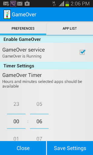 GameOver - Screen time control