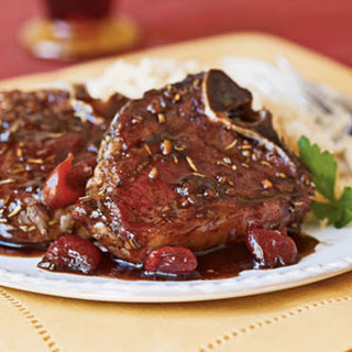 Cherry-Glazed Pan-Seared Lamb Chops.