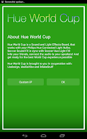 Screenshot of Hue World Cup for Philips Hue