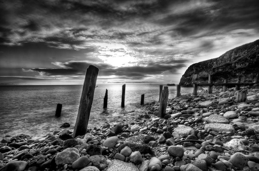 Chemical Beach by Paul King - Black & White Landscapes ( clouds, uk, sky, sea, pebbles, beach, east, coast,  )