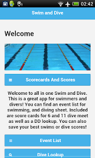 Swim and Dive Fitness app screenshot for Android