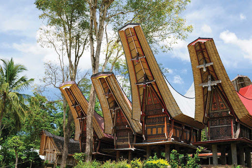Toraja-village-Sulawesi-Indonesia - Explore a traditional Toraja village when you sail to Indonesia aboard Silver Discoverer. The Toraja, an ethnic group indigenous to a mountainous region of South Sulawesi, are known for their boat-shaped houses and elaborate burial ceremonies.