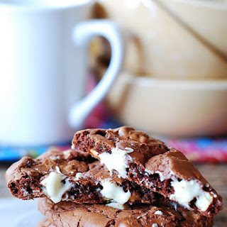 Outrageous Chocolate Cookies With White Chocolate Chips.